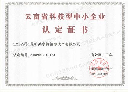 云南省科技型中小企业证书